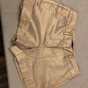 New York & Co metallic gold cuffed shorts 8